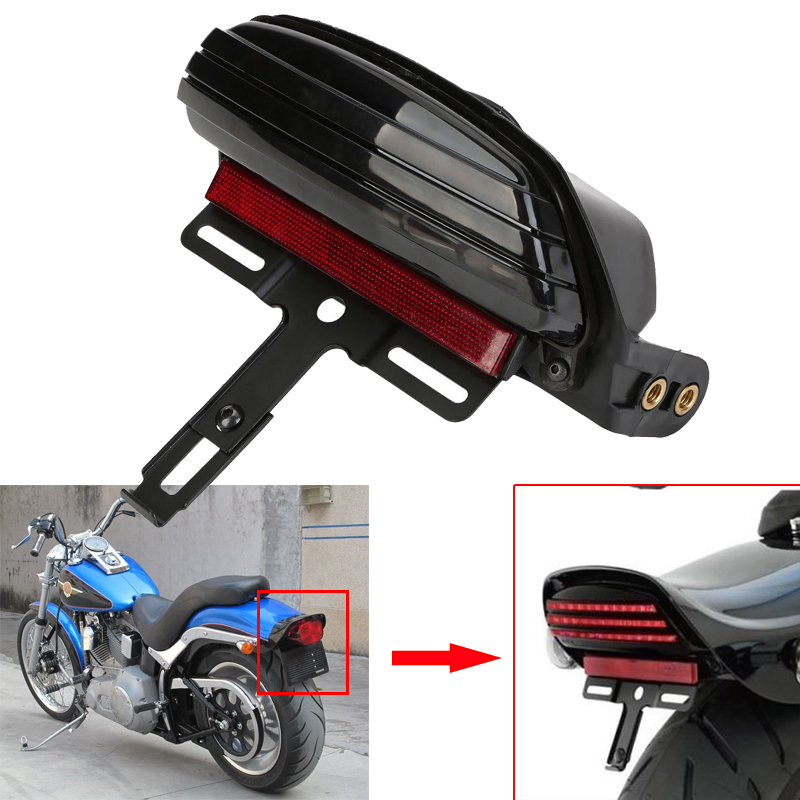Motorcycle Tri-Bar Fender LED Tail Light License Plate Light Lamp W/Mount Bracket For 2006-later Harley FXST FXSTB FXSTC FXSTS