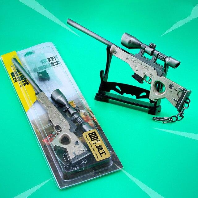 Zinc Alloy Fort weapons Metal model toy Nite Keychain Gun Sniper rifle awm nit figure Fornite 2