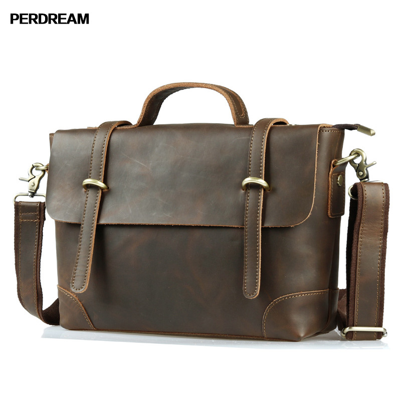 PERDREAM Cow Leather Man Casual Handbag Vintage Genuine Leather Crossbody Bag Nordic Simple Male Business Bags simple odern nordic leather double wedding leather bed furniture
