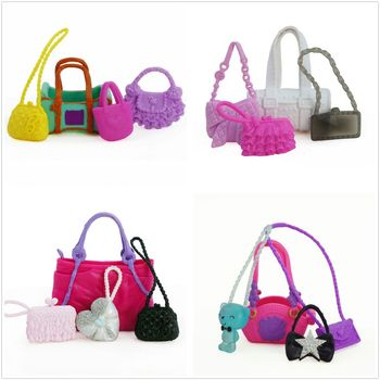 4 Pcs Cute Bags Colorful Shoulder Handbag Doll Accessories For Barbie Doll Baby Girl Kids Toy Gift MAR-20 image