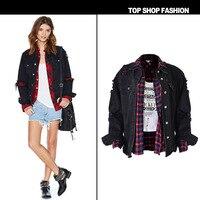 New High end Couture loose ladies frayed jacket denim jacket winter Black Size Women