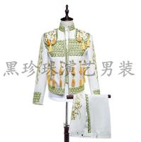 Royal Men Suits Designs Masculino Homme Terno Stage Costumes For Singers Men Tuxedo Blazer Dance Clothes Jacket Style Dress