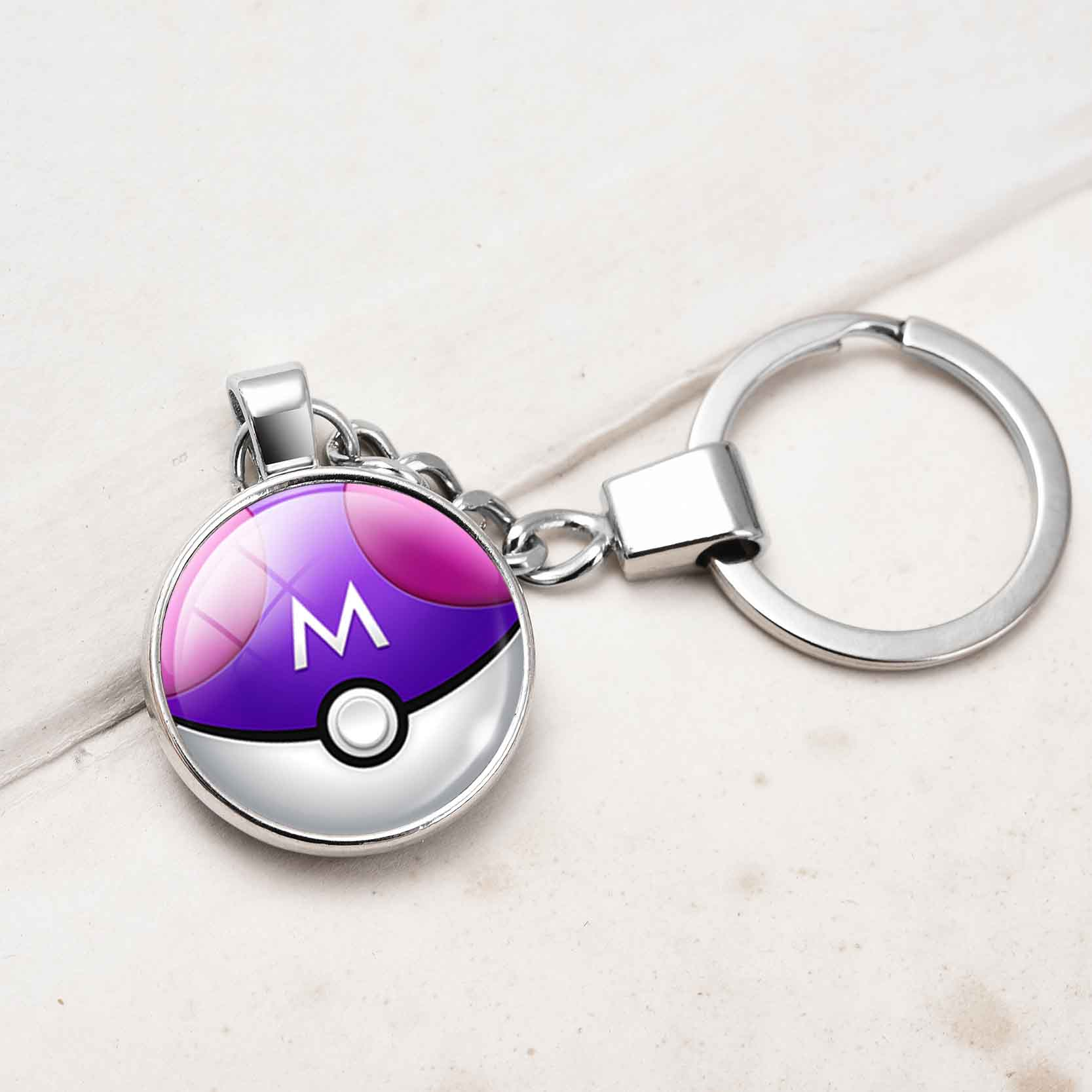 high-quality-silver-plated-font-b-pokemon-b-font-jewelry-double-side-glass-font-b-pokemon-b-font-pokeball-car-keychain-ring