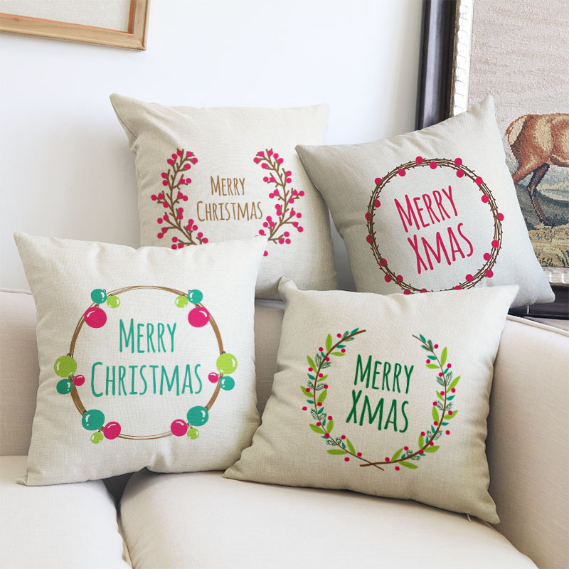 Us 2 38 15 Off Merry Christmas Pillow Cushion Cover Plant Wreath Decorative Pillows Covers Will Not Fade Sofa Pillowcase Almofada Cojines In