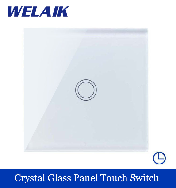 WELAIK Crystal Glass Panel Switch White Wall Switch EU Time Touch Switch Screen Light Switch 1gang1way AC110~250V A1911DSXW/B smart home us au wall touch switch white crystal glass panel 1 gang 1 way power light wall touch switch used for led waterproof