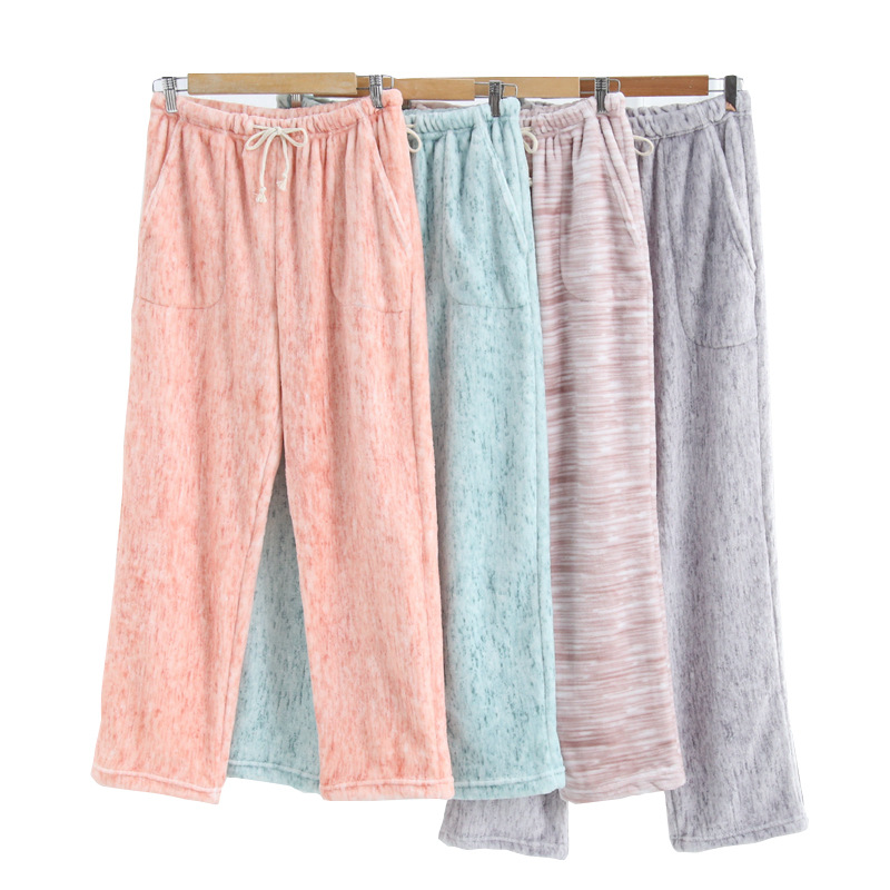 Flannel Autumn Winter Pajama Bottoms Pijama Pants Pyjama Pants Pajamas Trousers Thickened Warm Lovers Sleep Wear Night Pant