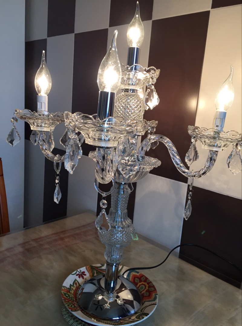 Led Candle Light E14 Table Lamps Glass Candle Holder Wedding Decorative Table  Lamp Modern Crystal Table Lights For Candlestick In Table Lamps From Lights  ...