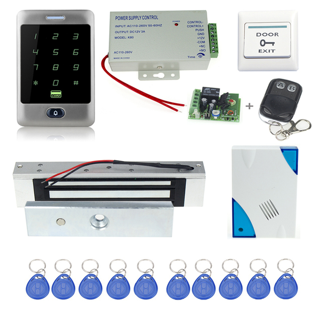 Envío gratis sistema de control de acceso completo C30 + cerradura Magnética electrónica + fuente de alimentación + clave fobs + timbre de la puerta + botón de salida + control remoto