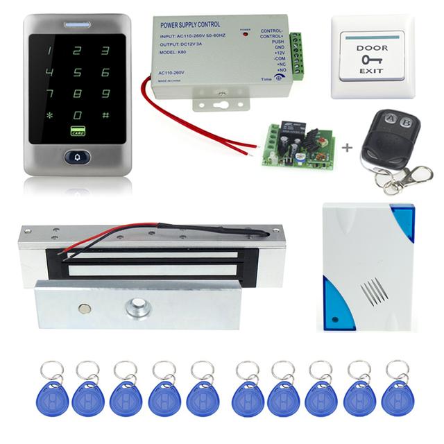 Frete grátis sistema de controle de acesso completo C30 + eletrônico fechadura Magnética + alimentação + chave fobs + porta bell + botão sair + controle remoto
