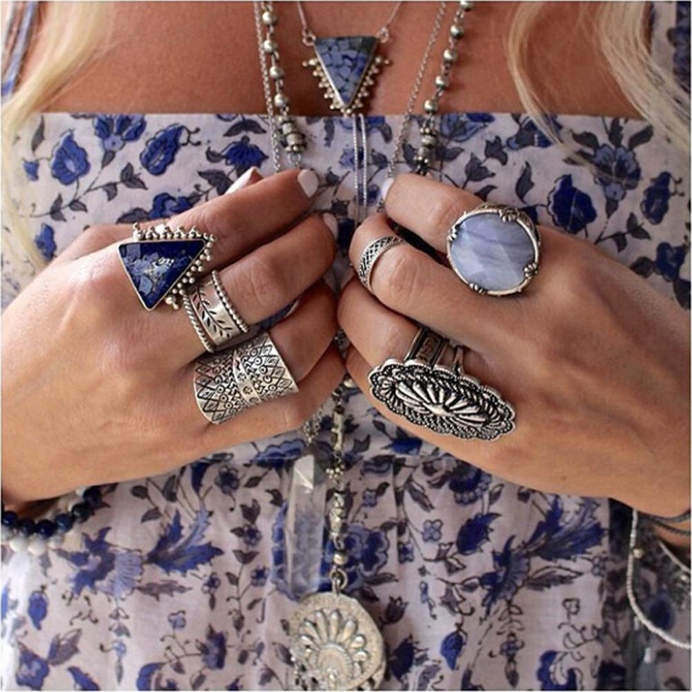 1 Piece  Turkish Beach Punk Zircon Ring Ethnic Carved Totem Antique Silver Plated 1 Pc Boho Finger Ring Knuckle Charm Anelli