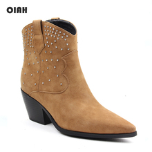 Fashion Women Ankle Boots Pointed Toe Western Cowboy Boots Women Chunky Wedges Boots Brown Flock Rivet Shoes for Ladies Slip on цена 2017