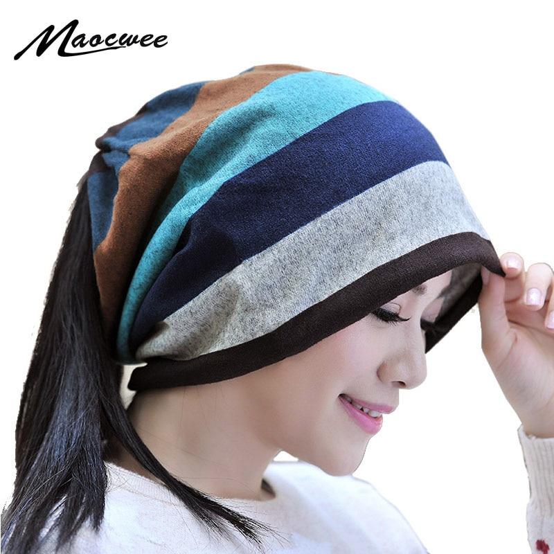 MAOCWEE Winter Women's hats New Knitting cap female Striped Hip Hop Hedging Cap   Skullies   Scarves   Beanies   Unisex Warm Hat Gorro