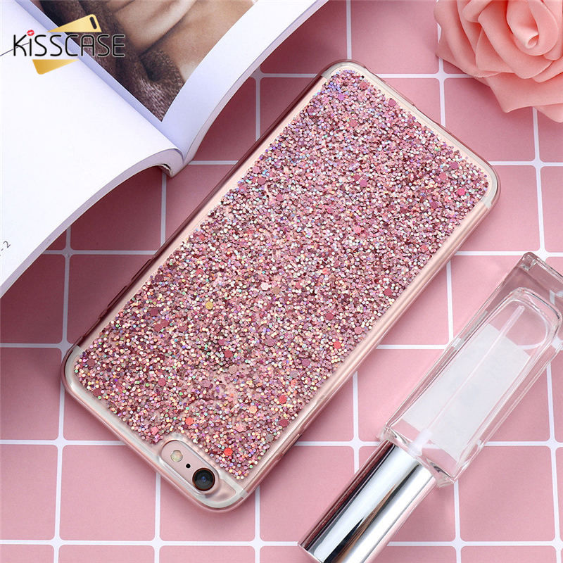 Kisscase polvo del brillo para el iphone 6 6s plus case 5.5 de lujo bling duro d
