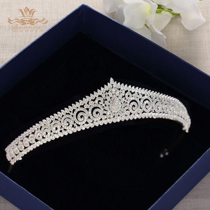 Europäische Einfache Funkelnde Volle Zirkon Braut Tiaras Kronen Überzogene Kristall Hochzeit Stirnbänder Für Bräute Brautjungfer Schmuck