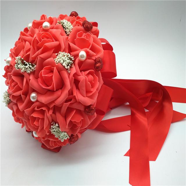 2017 Barato de La Boda/Ramos de Dama de honor Rojo Romántico de Novia Hechos A Mano ramo de la boda Artificial Rose Bouquet de mariage