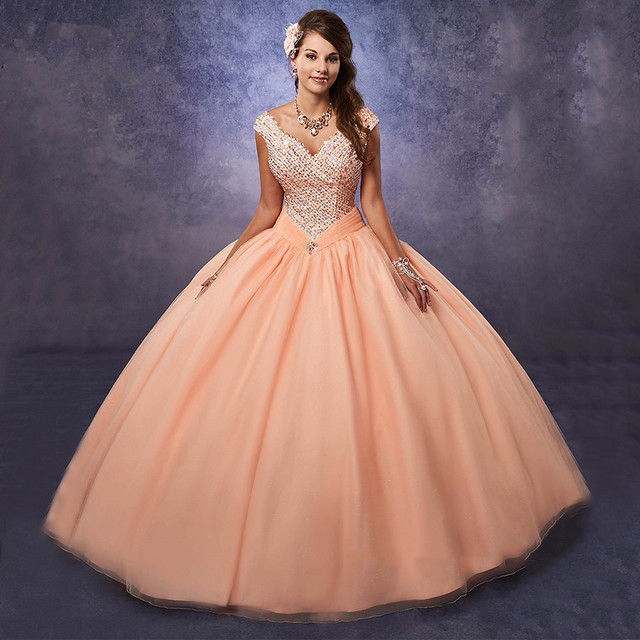 US $180.0 |New Arrival Party Masquerade Ball Gowns Plus Size Sweet 16  Dresses Peach Quinceanera Dresses 2017 with Cap Sleeves Rhinestones-in ...