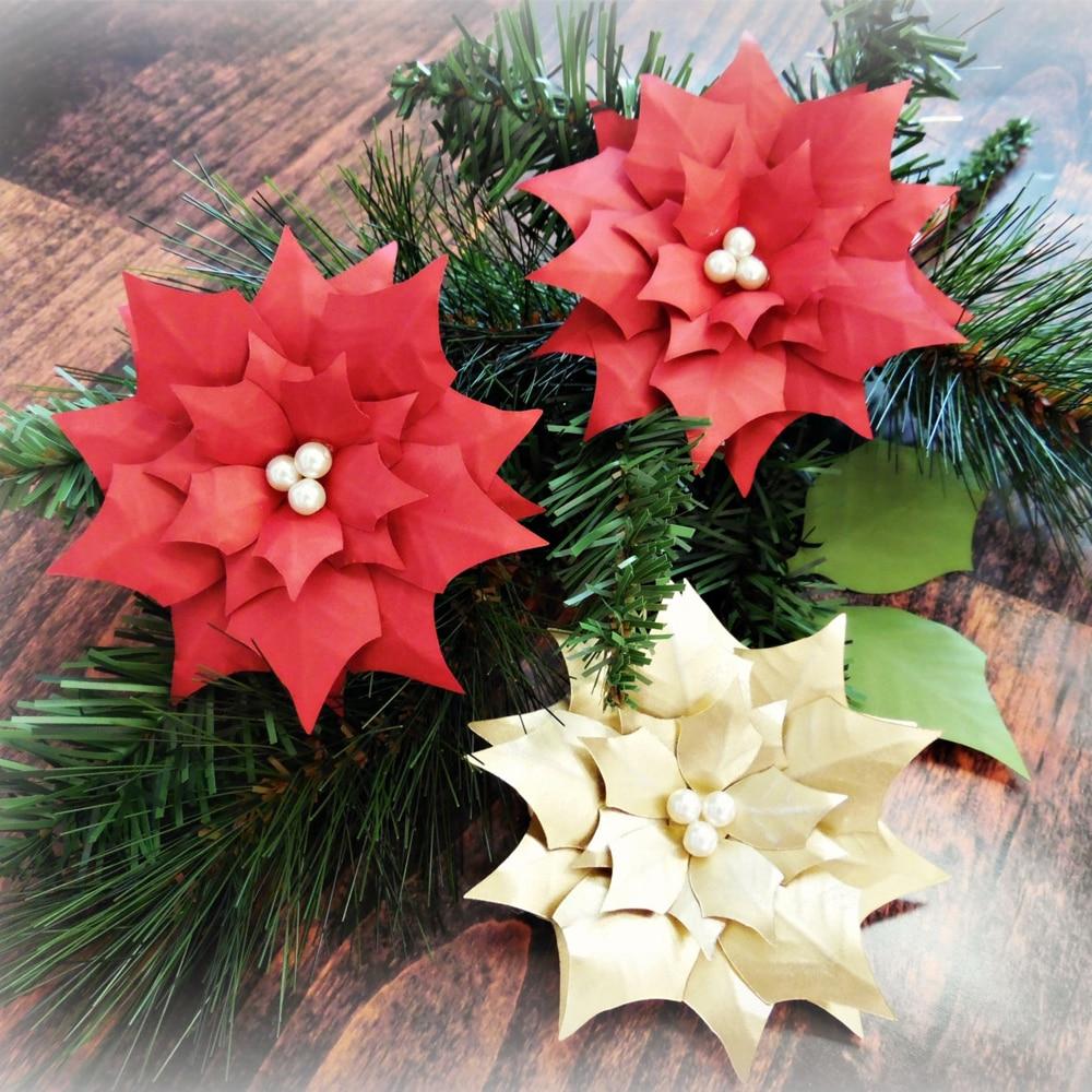 3 stücke 30 cm Papier Weihnachtsstern Blumen, riesen Papier Blumen ...