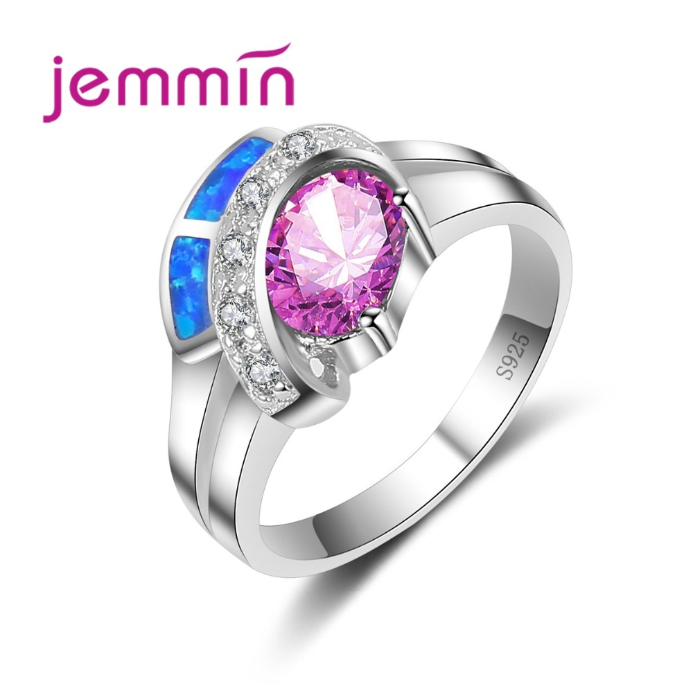 Jemmin Unique Design 925 Sterling Silver Crystal Rings For Women Wedding Jewelry Accessory Fine Bridal Band Finger Ring Lady