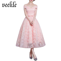 VEEKLE Women Summer Elegant Casual Cute Fairy Swing Midi Skater A Line Short Ball Gown Lace Dress Evening Party Vestido De Festa