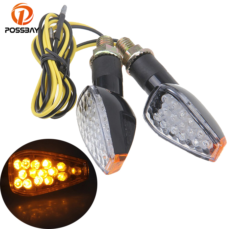 POSSBAY 12 LED Motorcycle Accessories Turn Signal Indicator Flashers Amber Lights Cafe Racer For Honda Yamaha Harley Kawasaki