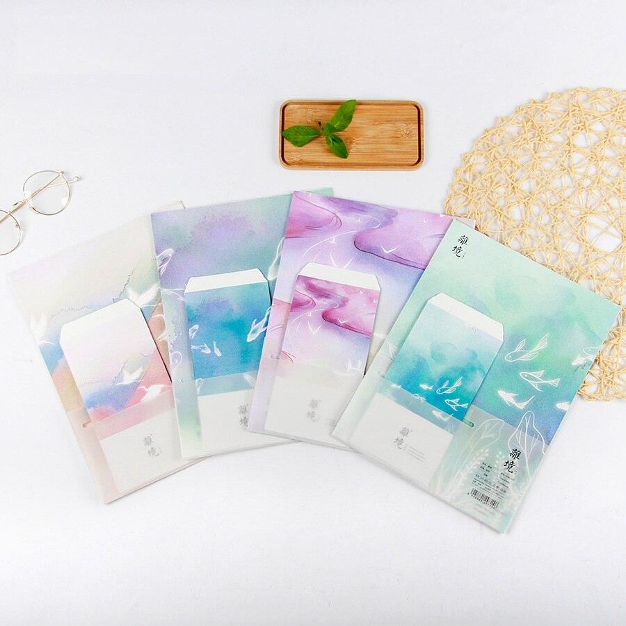 9pcs/Set 3 Envelopes + 6 Writting Paper Creative Dreamland Series Envelope For Gift Korean Stationery