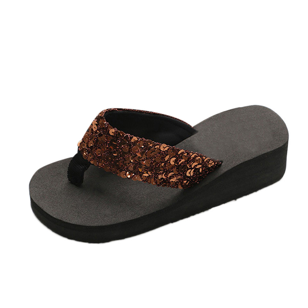 HTB1svbXcGSs3KVjSZPiq6AsiVXaz Summer Women Flip Flops Casual Sequins Anti-Slip slippers Beach Flip Flat Sandals Beach Open Toe Shoes For Ladies Shoes #L5