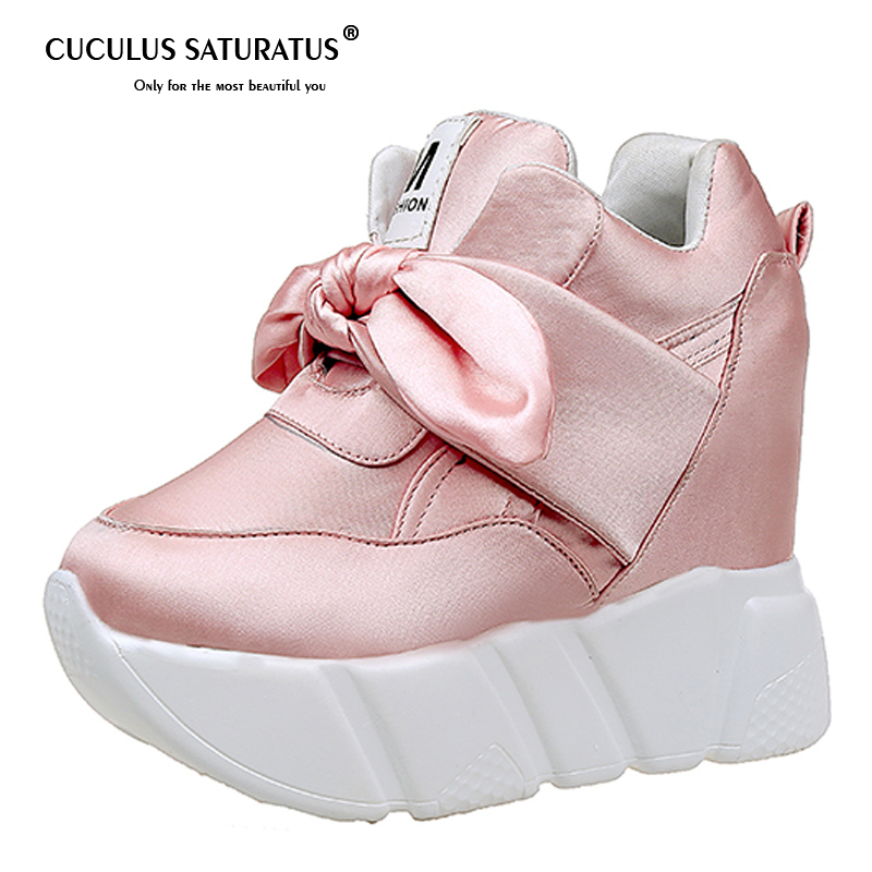 Cuculus Spring Autumn Women High Heel Wedge Shoes Woman Increased Internal Thick Platform Pumps Bow Lace-Up Stiletto 1582 casual increased internal and lace up design athletic shoes for women