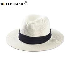 BUTTERMERE Straw Hat Women Panama Men Summer Sun Beach Casual Wide Brim Beige Hawaiian Brand Cap