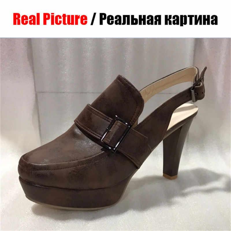 KARINLUNA yeni artı boyutu 34-50 bayan yüksek topuklu Platform ayakkabılar kadın zarif parti pompaları arkası açık iskarpin seksi bahar yaz pompaları kadın