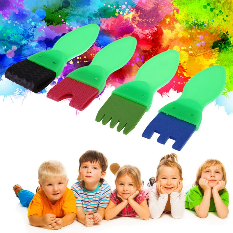4pcs/set Kids Drawing Toys Sponge Brush Children DIY Painting Graffiti Tools Doodle Art Supplies Baby Early Educational Toy Gift