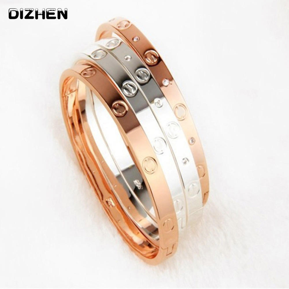 Trendy Crystal Rose Gold Silver Bracelet for Women Bangle Lover Bracelet Jewelry Titanium Love Bracelet Bangle Pulseiras B17008 ...