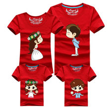 Family Matching Outfits 12 Colors Bride Bridegroom matching family clothes mother and daughter clothes and father son T shirt(China)