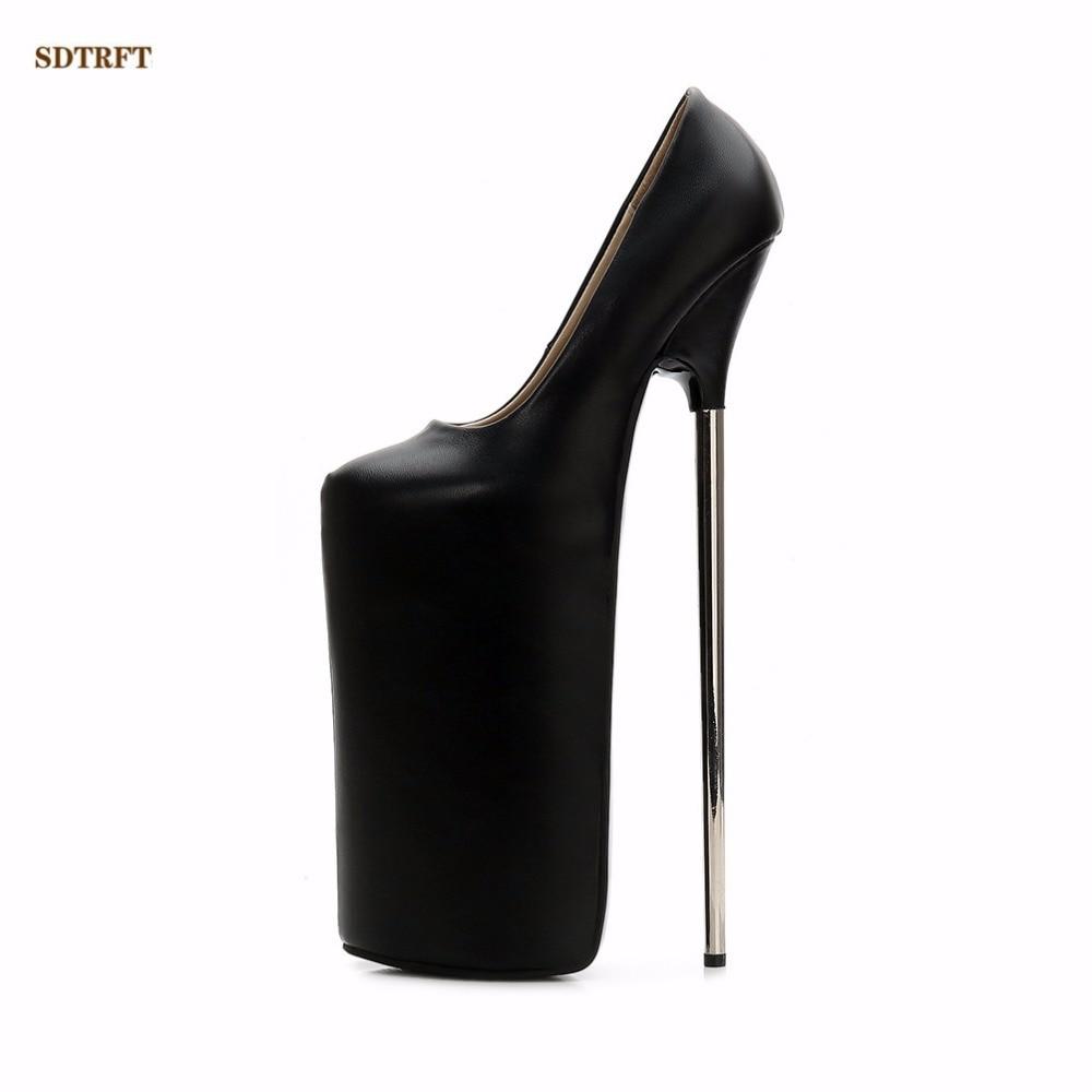 Crossdresser Plus:36 45 46 New Stiletto zapatos mujer Sexy Vestir Bombas 30cm Metall thin Absatz women shoes Donna Abiball pumps