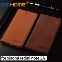 For Xiaomi Redmi Note 5A Case Flip Matte Genuine Leather Soft TPU Back Cover For Xiaomi