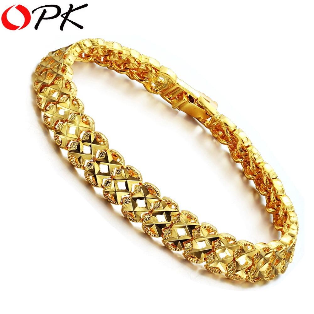 OPK JEWELRY Gold Color Leisure Bracelet For Men/ Women Hot Selling Gold Color Bracelet 8.7mm 371