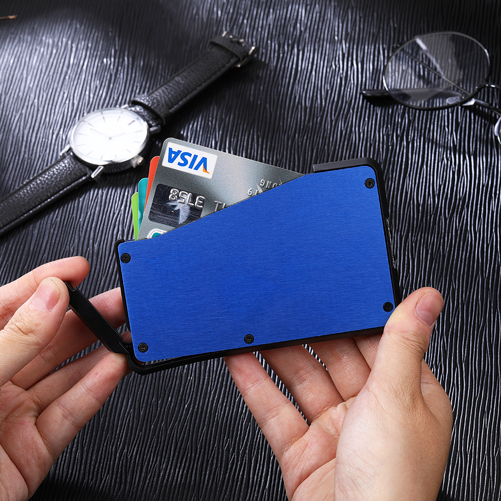 2019 Hot Sliding Cash Card Holder Fan Carbon Fiber Business Wallet Credit Card Holder Protector Case Pocket Purse Fireproof