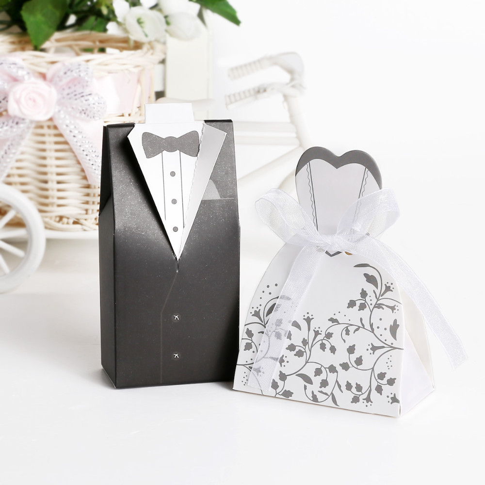 100pcs Wedding Candy Box Bride And Groom Candy Bag Wedding Favor Box ...