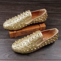 Personalized Men Gold Casual Shoes Fashion Tide Men Rivets Glitter Round Toe Slip On Loafer Shoes