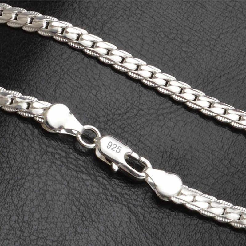 New 5mm Fashion Chain 925 Sterling Silver Necklace Pendant Men's Jewelry Hot Sale Side Necklace
