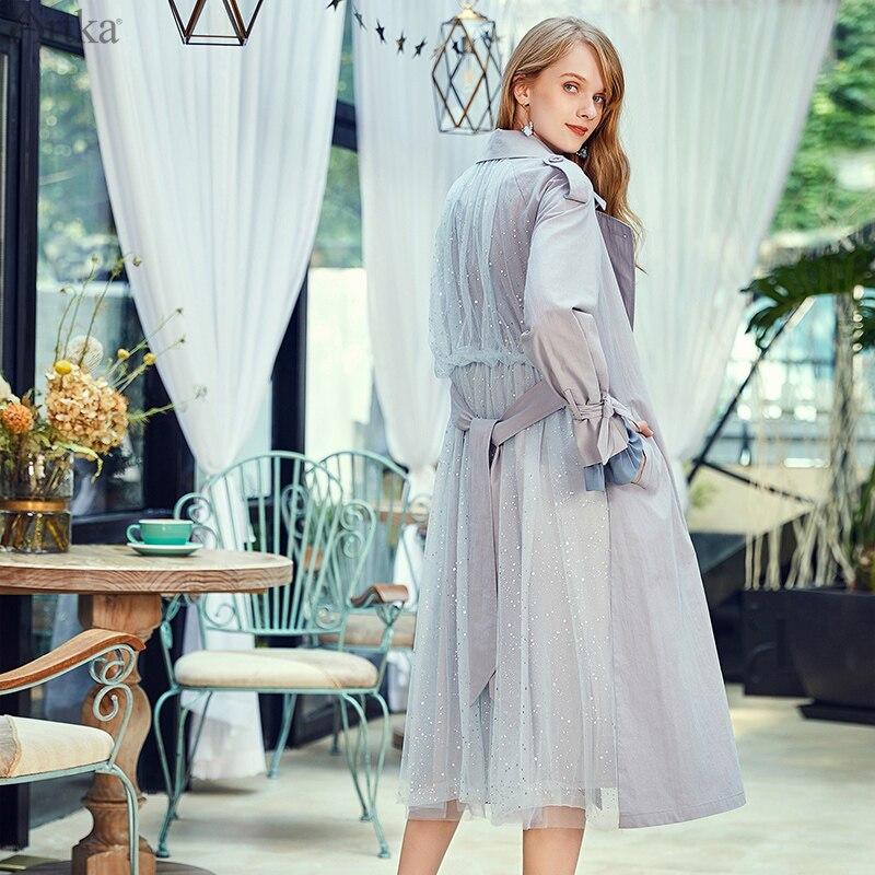 ARTKA 2019 Autumn New Women Coat Elegant Mesh Patchwork Windbreaker Back Elastic Waist Double Breasted Trench Coat FA10083Q