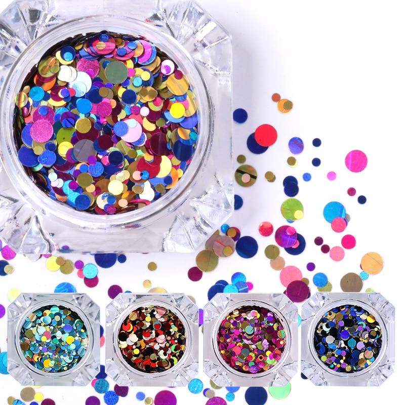 1 Doos Glanzende Ronde Ultradunne Pailletten Kleurrijke Nail Art Glitter Tips 1mm 2mm 3mm Manicure 3D Nail Decoratie DIY Accessoires