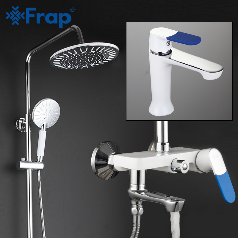 Permalink to FRAP White Shower faucets Bathroom Faucets mixer bath shower basin faucet sink taps rainfall shower head set Sanitary Ware Suite