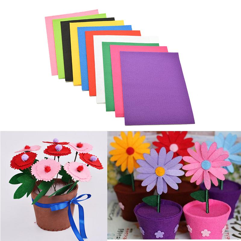 Paper Craft Decoration Home: 10 Colors/lot Non Woven Felt Fabric Kids DIY Craft 2mm