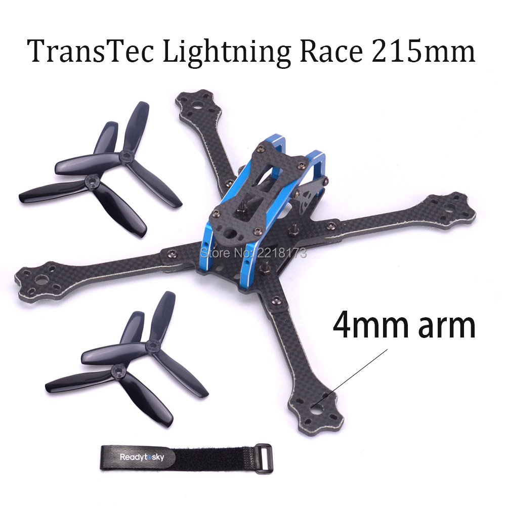 TransTEC Lightning Race 215mm with 4mm arm 3K Full Carbon Fiber Frame Kit Blue for Multirotor Parts Accessories 2017newest transtec 215mm 5mm 3k full carbon fiber frame kit for lightning race blue sliver for rc racing racer drone toy diy