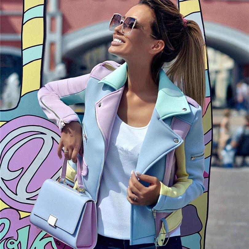 Taotrees Spring Autumn Multicolor Spliced Diagonal Zipper Jackets Women Epaulet Design Turn-Down Collar Coat Ladies Basic Coat