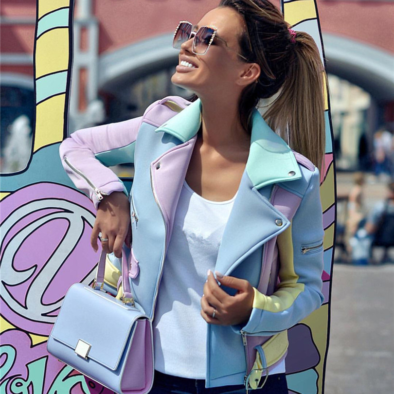 Taotrees spring autumn Multicolor Spliced Diagonal Zipper Jackets Women Epaulet Design Turn-Down Collar Coat Ladies Basic Coat