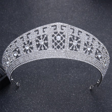 Dower me Luxury Silver Rhinestone Queen Tiara Wedding Prom Crown Hair Accessories Bridal Headpiece Women Tiaras