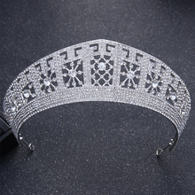 Dower me Luxury Silver Rhinestone Queen Tiara Wedding Prom Crown Hair Accessories Bridal Headpiece Women Tiaras and Crowns