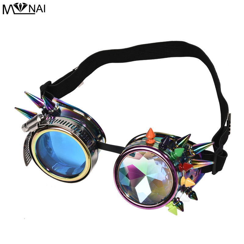 Image 3 - Punk Multi color Rivets Goggles Face Dust Gas Mask Steampunk  Costumes Colorful Spikes Glasses with Mask Set Party HalloweenBoys  Costume Accessories