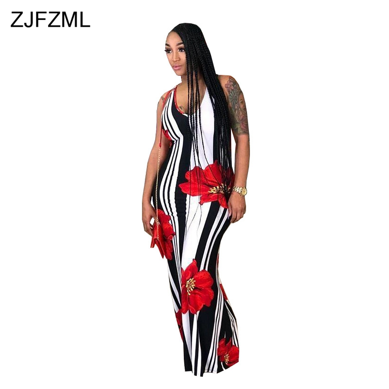 5b7aedaf2ce ... ZJFZML Black White Vertical Striped Summer Beach Dress Women Spaghetti  Strap Floral Print Robe Vintage Back ...